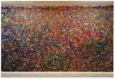 個展 和紙・顔料・荒縄・線香・小豆・米・胡麻・色紙(真木画廊/1998)